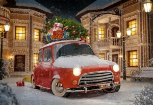 Amazing funny retro car with christmas tree and gift boxes on the roof in the cute city at night. Unusual christmas illustration